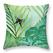 Rainforest Tropical - Philodendron Elephant Ear And Palm Leaves W Botanical Butterfly Throw Pillow