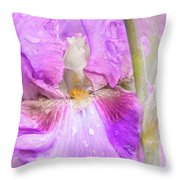 Raindrops On Persian Berry Iris Throw Pillow