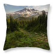 Rainier And Majestic Meadows Of Wildflowers Throw Pillow