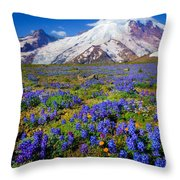 Rainier Lupines Throw Pillow