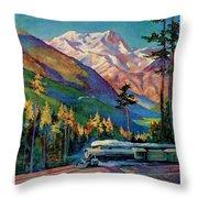 Rainier National Park Vintage Poster Restored Throw Pillow