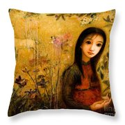 Raining Garden Throw Pillow