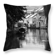 Raining On The Canal Throw Pillow