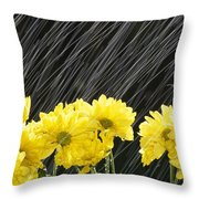 Raining On Yellow Daisies Throw Pillow