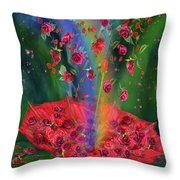 Raining Roses 2 Throw Pillow