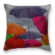 Raining Umbrellas Throw Pillow