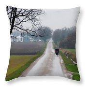 Rainy Amish Day Throw Pillow