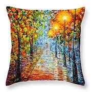 Rainy Autumn Evening In The Park Acrylic Palette Knife Painting Throw Pillow