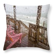 Rainy Beach Evening Throw Pillow