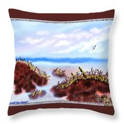 Rainy Beach Scene Throw Pillow