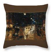 Rainy Berlin Street Throw Pillow