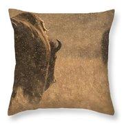 Rainy Bison Throw Pillow