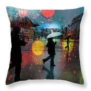 Rainy City Scene Throw Pillow