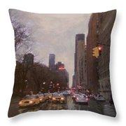 Rainy City Street Throw Pillow by Anita Burgermeister