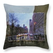 Rainy City Street Layered Throw Pillow by Anita Burgermeister