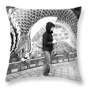 Rainy Day At The Wat Phra That Temple Throw Pillow