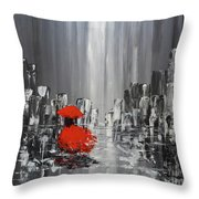 Rainy Day City Girl In Red Throw Pillow