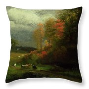 Rainy Day In Autumn Throw Pillow by Albert Bierstadt