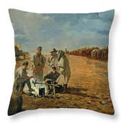 Rainy Day In Camp Throw Pillow