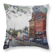 Rainy Day In Downtown Brampton On Throw Pillow