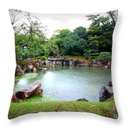 Rainy Day In Kyoto Palace Garden Throw Pillow