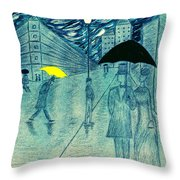 Rainy Day In The City Throw Pillow