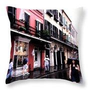 Rainy Day On Bourbon Street Throw Pillow