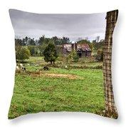 Rainy Day On The Farm Throw Pillow