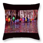 Rainy Day Rainbow - Children At Independence Square Throw Pillow
