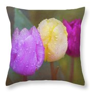 Rainy Day Tulips Throw Pillow