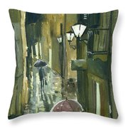 Rainy Evening In Kotor Throw Pillow