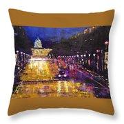 Rainy Evening On Pennsylvania Avenue Throw Pillow