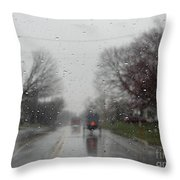 Rainy Fall Day Throw Pillow