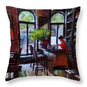 Rainy Morning In The Restaurant Throw Pillow