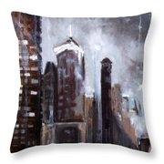 Rainy Night Downtown Throw Pillow