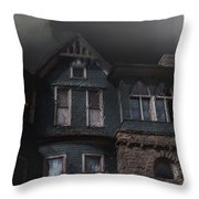 Rainy Night House Throw Pillow