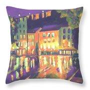 Rainy Night-old Quebec Throw Pillow
