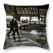 Rainy Nights Downtown Throw Pillow