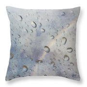 Rainy Rainbow Throw Pillow