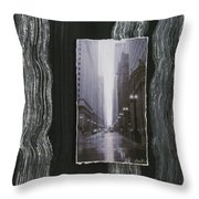 Rainy Street Layered Throw Pillow