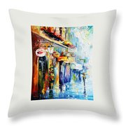 Rainy Stroll Throw Pillow