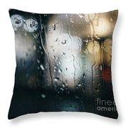 Rainy Window City Lights Throw Pillow