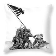 Raising The Flag Throw Pillow