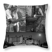 Rajasthan Collage Bw Throw Pillow