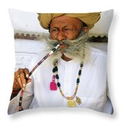 Rajasthani Elder Throw Pillow by Michele Burgess