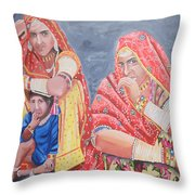 Rajasthani Ladies With Traditional Jewelry Throw Pillow