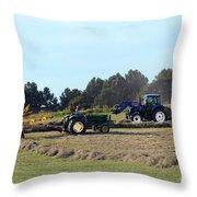 Raking And Baling Hay In Texas Throw Pillow
