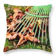 Raking The Fallen Autumn Leaves Throw Pillow