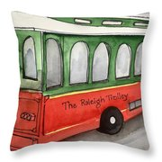 Raleigh Trolley Throw Pillow