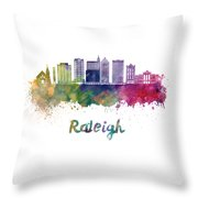 Raleigh V2 Skyline In Watercolor Throw Pillow